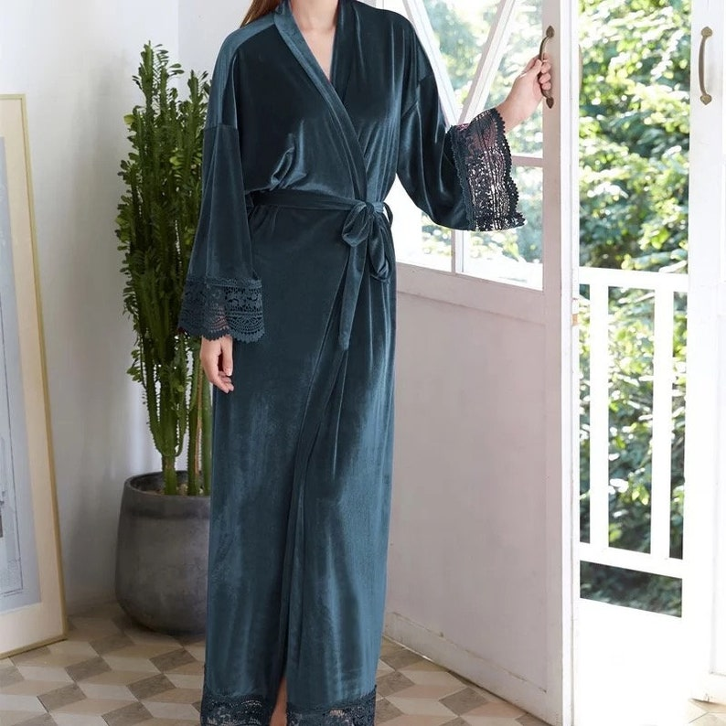Gifts Wedding Bridal Robes Luxurious Long Twilight Grey Blue Couture Velvet Kimono Bridesmaids Customisable Mother Of The Bride