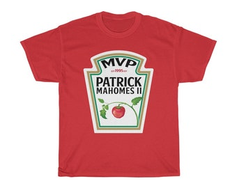 Patrick Mahomes Mvp Ketchup Kansas City Chiefs QB T Shirt Unisex Heavy  Cotton Tee 91d0544f1