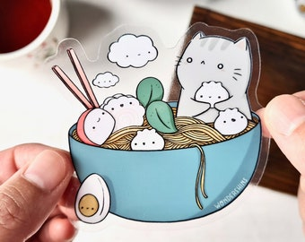 Noodle Kitty Sticker   Cute Cat Sticker for Foodies and Kitchen, Fridge, Office, Lockers