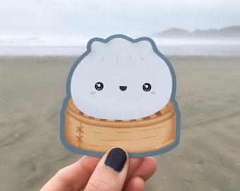 Cute Dim Sum Magnet   Happy Dumpling in Steamer Die-Cut Magnet