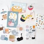 Happy Launch Bundle! | Postcards, Sticker Sheets, Vinyl Stickers, Die-Cut Magnet, Kawaii Art, Cute Illustrations, Cute Stationery Bundle