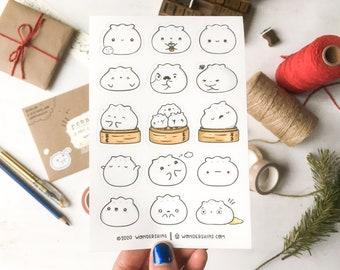 Baomoji Sticker Sheet   Cute Dumpling Stickers for Planners and Bullet Journals