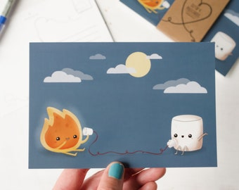 Cute Camping Postcard   Fire and Marshmallow 4x6 Postcard and Mini Print