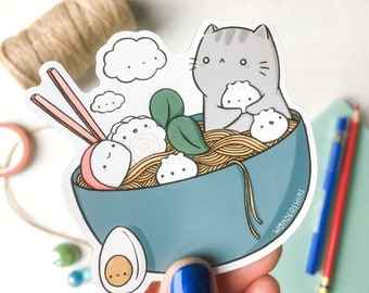 Noodle Kitty Magnet   Cute Cat Magnet for Foodies and Kitchen, Fridge, Office, Lockers