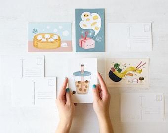 Asian Food 4x6 Postcards & Mini Prints   Ramen, Boba, Bao, Dumplings, Cute Asian Food, Chinese Food, Postcard Bundle