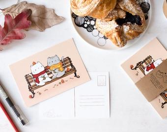 Outdoor Lattes Cute Postcard   4x6 Kawaii Postcard and Mini Print of Cute Cats Drinking Coffee