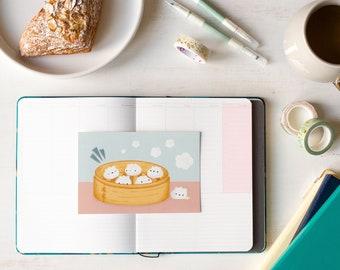 Dumpling Buddies 4x6 Postcard & Mini Print   Dim Sum Steamer with Cute Bao Dumplings