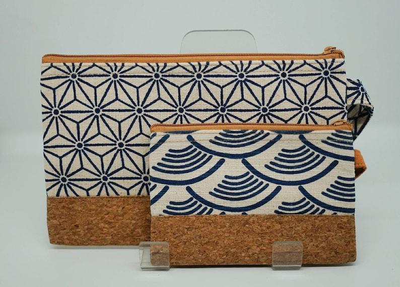 Wave wallet wallet cork and recycled cotton Christmas gift handmade Wallet handbag