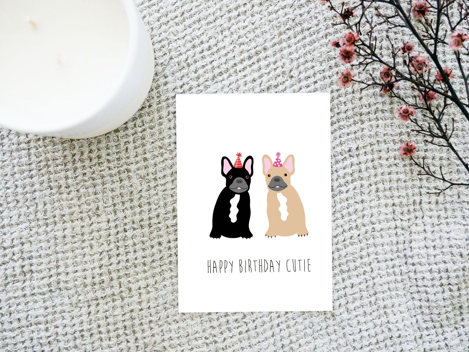 Frenchie Dog Birthday Card