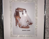 Glamour wall art with vintage diamante Swarovski elements crystals jimmy Choo shoes