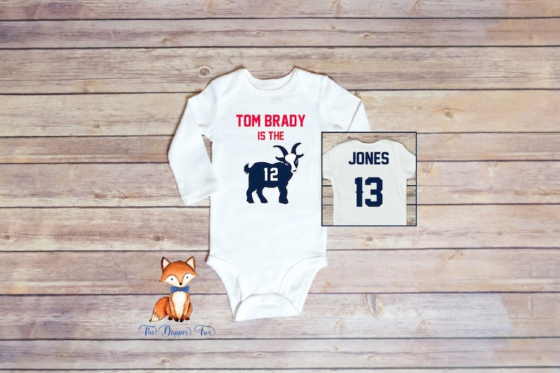 Name and Number on Back Red and Navy Personalized Tom Brady is the GOAT Patriots Inspired Long Sleeve Bodysuit