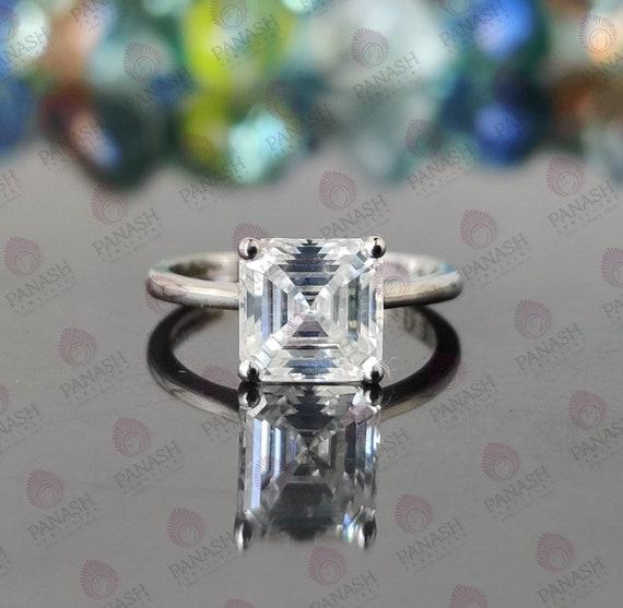Asscher Cut moissanite Ring Solitaire Moissanite Wedding Ring 925Silver Ring Asscher Solitaire Engagement Ring Moissanite Ring Promise Ring