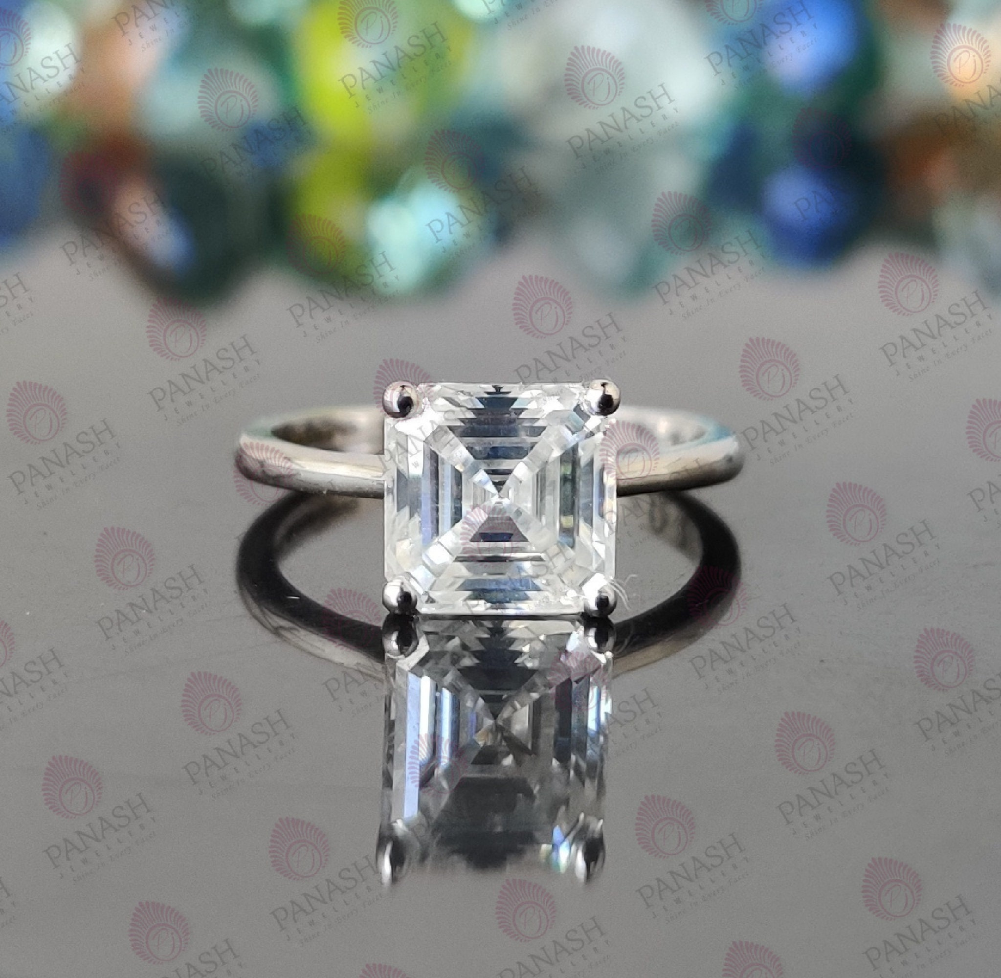 Moissanite Ring Faceted Gemstone Ring 925 Solid Sterling Silver Ring Handmade Silver Ring Engagement Ring Solitaire Wedding Ring for Her