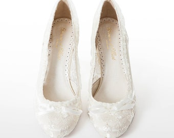 3f4a966f4d0 Ivory Lace Wedding Shoes - Low Heel Vintage Bridal Shoes - Lace Wedding  Pumps - House of Elliot Lydia Elliot