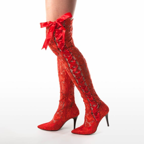 Red Lace Over The Knee Boots Red Lace