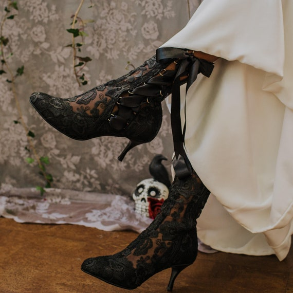 Black Lace Victorian Ankle Boots, Black Vintage Boots, Gothic Boots, Steampunk Boots, Lace Ankle High Boots, House of Elliot 'Lottie Elliot'