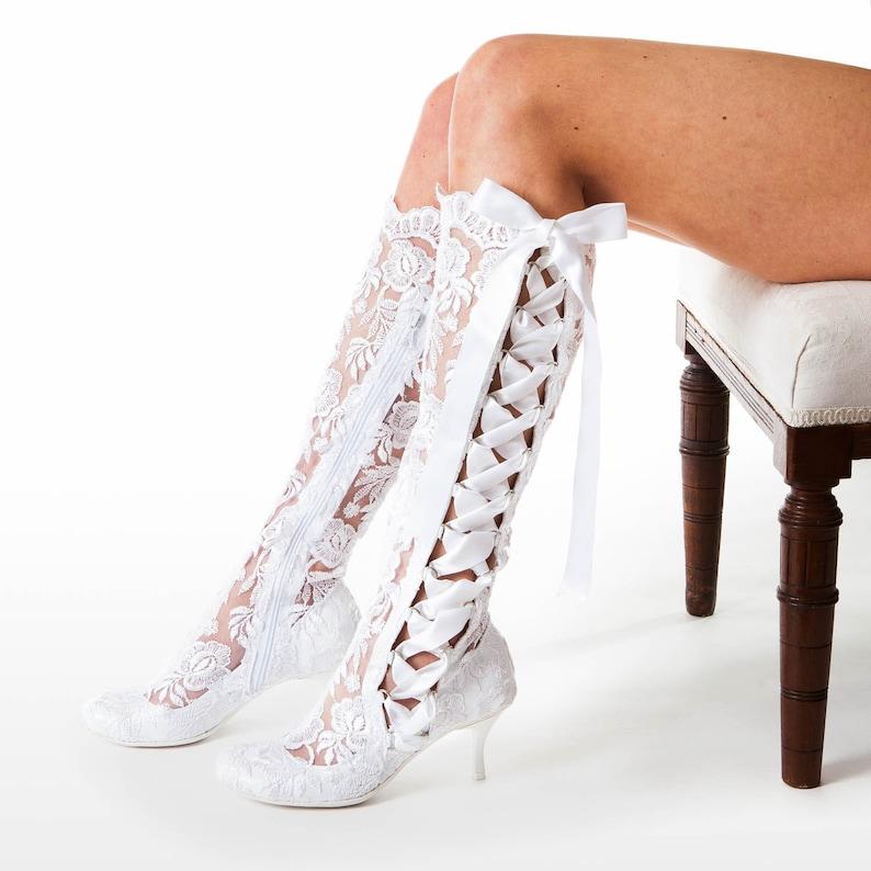 6014093b34401 White Lace Wedding Knee High Boots - Vintage Lace Bridal Boots - Low Mid  Heel Vintage Boots - House of Elliot Evangeline Elliot