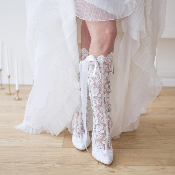 White Lace Wedding Knee High Boots