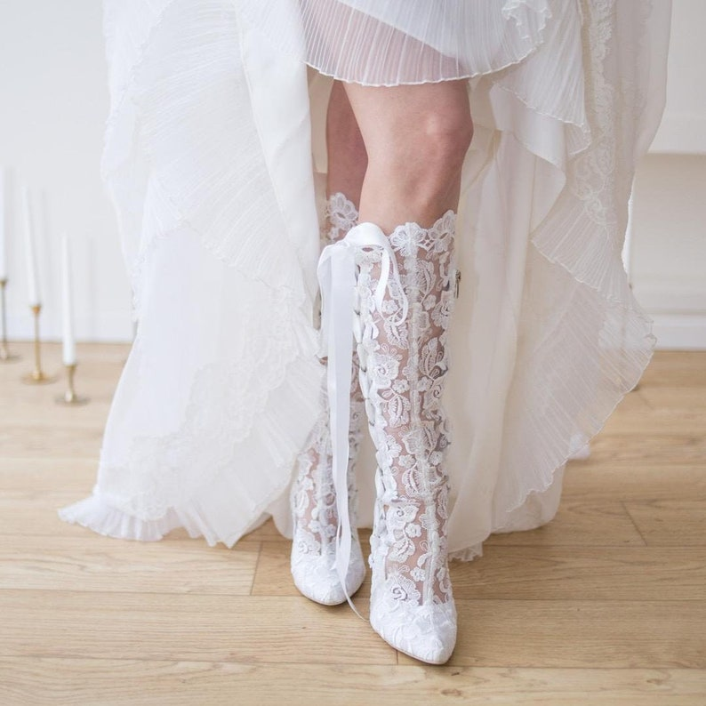 faedae6f8f7e1 White Lace Wedding Knee High Boots , Cowboy Bridal Boots, Mid High Heel  Vintage Boots, White Boho Boots, House of Elliot Beatrice Elliot