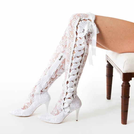 96d897ea9a226 White Lace Over The Knee Wedding Boots - Pointed Toe Lace Bridal Boots -  Mid High Heel Vintage Boots - House of Elliot Goodnight Sweetheart