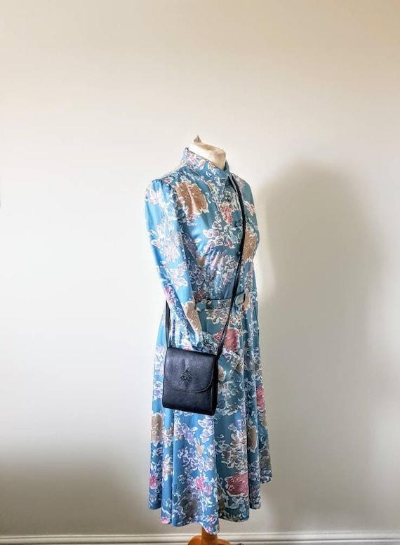 1970s Debenhams long sleeved,  blue floral shift d
