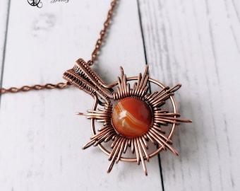 Obsidian Necklace Sun Necklace Star necklace Wire wrapped gemstone pendant Wire weave boho jewelry Sunburst necklace Elven necklace.