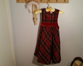 b9a7d6f4f Vintage Red Blue Tartan Satin Formal Girls Dress, Size 6 Gymboree,  Sleeveless, Red Velvet Sashes, Christmas Dress, holiday dress, plaid,