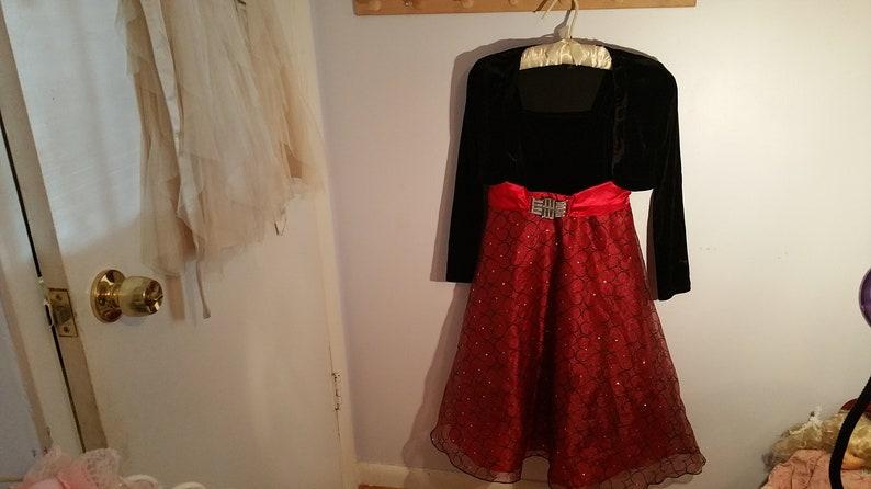 lined jeweled red waist band,Christmas black red Vintage Black Velour Girls Dress heart pattern skirt Size 10,IZ Byer dressy formal