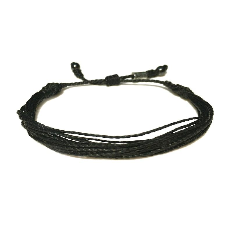 RUMI SUMAQ Black Sailor Rope Bracelet Braided Woven Nautical Knot Beach Jewelry for Men and Women