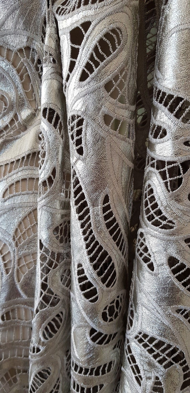 synthetic leather laser cut modern design embroidery Designer fabric