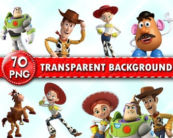 Toy Story Clipart Characters PNG Printable Cartoon Images Transparent Background Instant Download