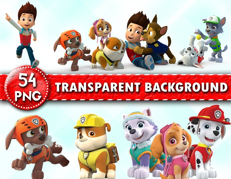 Paw Patrol Clipart Paw Patrol Characters Paw Patrol Png Files Transparent Background Instant Download
