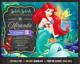 Little Mermaid Invitation Birthday Party Princess Ariel Disney Under The Sea Personalized Printable Digital File