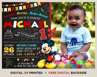 Mickey Mouse Birthday Invitation Boy Printable First With Photo One Year Old Picture