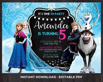 Frozen Birthday Invitation Instant Download Invitation For Girls Birthday Invitations Frozen Invitation Editable Printable Princess Invite