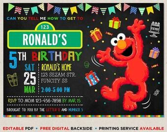 Elmo Birthday Invitation Printed Sesame Street Instant Download Party Invitations Digital Reusable