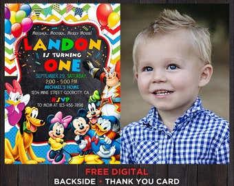Mickey Mouse Clubhouse Birthday Invitation Boy Printable First With Photo One Year Old Picture