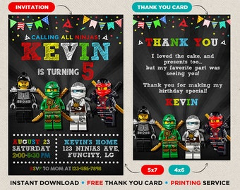 Ninjago Birthday Invitation Instant Download Party Theme Thank You Card Printables Prints Editable