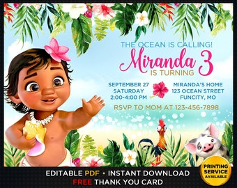 Baby Moana Invitation Prints Editable Birthday Instant Download Party