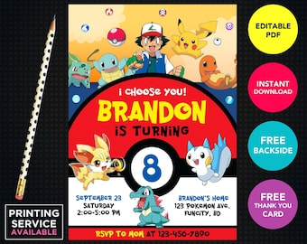 Pokemon Invitation Instant Download Template Birthday Digital Thank You Cards Printable Invitations Printed