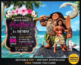 Moana Birthday Invitation And Thank You Editable Instant Download Party