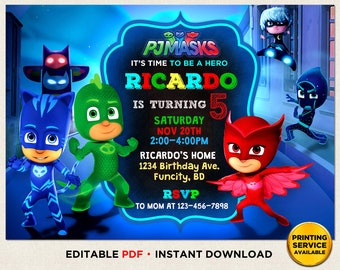 PJ Masks Birthday Invitation Girl Boy Instant Download Party Pj Editable Printed