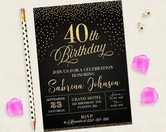 40th Birthday Invitation For Women Black And Gold Invitations Digital Woman 40 Years Old Her