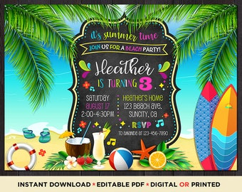 Beach Party Invitations Theme