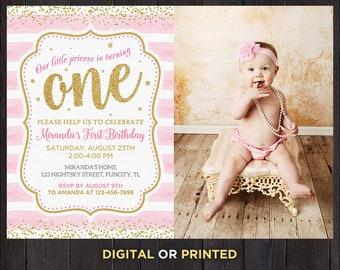 One Birthday Invitation Girl First Birthday Girl Invitation Pink And Gold 1st Birthday Girl Invitation With Picture 1st Birthday With Photo