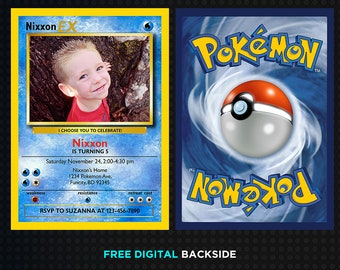 Pokemon Card Invitation Template Birthday Digital Thank You Cards Printable Invitations Printed Party Supplies