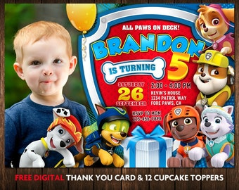 Paw Patrol Invitation Boy Birthday Invitations With Photo Picture Thank You Cards Printed