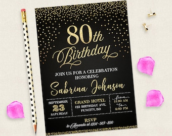 80th Birthday Invitation For Women Black And Gold Invitations Digital Woman 80 Years Old Her