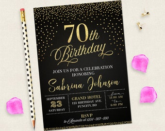 70th Birthday Invitation For Women Black And Gold Invitations Digital Woman 70 Years Old Her