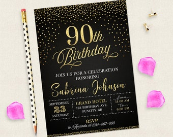 90th Birthday Invitation For Women Black And Gold Invitations Digital Woman 90 Years Old Her